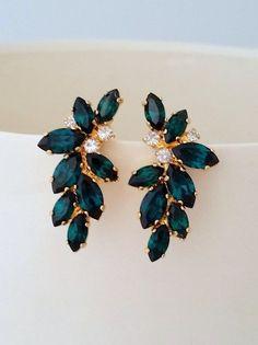 Emerald Earrings, Emerald Bridal Earrings, Statement Stud Earrings, Large Earring, C . Emerald Earrings, Crystal Earrings, Stud Earrings, Emerald Shoes, Gold Statement Earrings, Emerald Jewelry, Emerald Diamond, Opal Jewelry, Chandelier Earrings