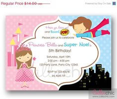 Princess and Superhero Birthday Invitation PRINTABLE  by CallaChic