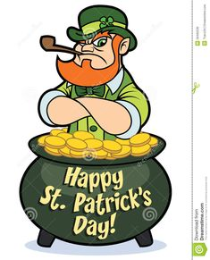 A tough looking cartoon leprechaun in a pot of gold coins