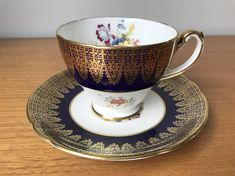 Hammersley Cobalt Blue Teacup and Saucer, Vintage Gold Filigree and Flower Bouquet Tea Cup and Saucer, English Floral Bone China Yellow Flowers, Pink Yellow, Purple, Royal Stafford, Flower Tea, Gold Filigree, Tea Cup Saucer, Muted Colors, Cobalt Blue