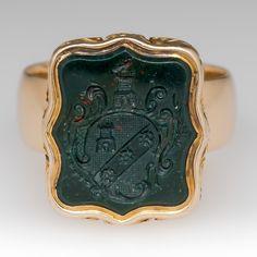 Antique bloodstone crest seal mens 18k gold ring
