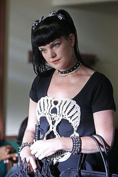 """This is your basic photo of Abby Sciuto. It's taken from the NCIS season 11 premiere, """"Whiskey Tango Foxtrot. Ncis Season 11, Season Premiere, Ncis Abby Sciuto, Pauley Perrette Ncis, Pauley Perette, Ncis Gibbs Rules, Ncis Rules, Ncis Cast, Skull Dress"""