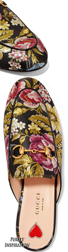 Gucci Princetown horsebit-detailed printed satin flats | Purely Inspiration