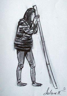 Ejercicio 5. Apuntes de figura de pie. 35x50. Selene Martín. Carboncillo