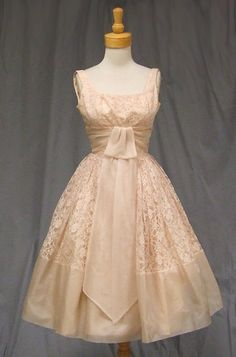Vintage 1950's Lace & Organdy Pink Cocktail Dress; this is gorgeous!