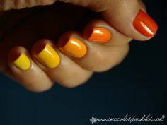 This is a cool idea - each nail is a slightly different colour, making a gradient effect!