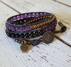 Amethyst, Onyx & Hematite Beaded Wrap Bracelet, Charm Bracelet, Gemstone Jewelry, Boho Chic Jewelry, Yoga Jewelry, x3 Boho Wrap Bracelet #beadedjewelry