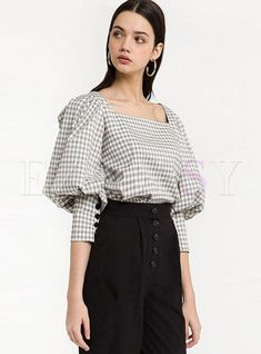 Shop for high quality Vintage Square Sleeve Plaid Puff Sleeve Blouse online at cheap prices and discover fashion at Ezpopsy.com