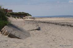 Utah Beach de nos jours avec des restes du mur de l'atlantique
