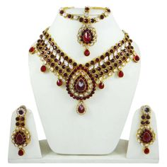 This is a beautiful 3 pcs set of traditional designer necklace jewelry includes a necklace set with an adjustable thread cord, a pair of earrings and beautiful matha patti for forehead.  ..this is img