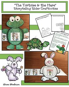 """Writing: Cute """"Here's What Happened"""" & """"What's the Moral of the Story?"""" writing prompt worksheets for """"The Tortoise & The Hare"""". Practice sequencing & retelling the story with the cute rabbit or turtle storytelling """"slider"""" craft."""