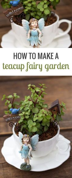 Teacup fairy gardens are an adorable Mother's Day gift, are the perfect craft for fairy-themed birthday parties, and look especially sweet displayed in a sunny window. via @https://www.pinterest.com/fireflymudpie/ #fairygardening