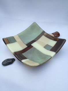 Fused Glass Bowl Nature's Beauty by SmudgePotz on Etsy