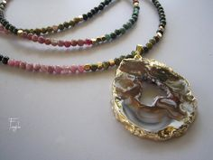 Maria  Long  tourmaline necklace with agate slice by sivylla, €90.00