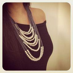 Collar de trapillo con perlas ¡