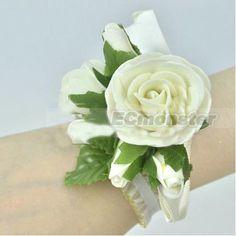 New Pretty Wedding Bridal Bridesmaids Wrist Corsage Rose Flower White   eBay