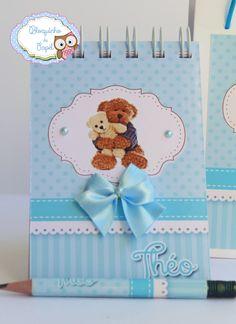 Caderninho para lembrança de nascimento, maternidade, Ursinho Azul www.bloquinhodepapel.com.br
