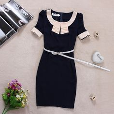 Find More Information about Women's elegant ruffles O neck short sleeve Navy color block decoration plus size work dress,High Quality dress mark,China dress ed Suppliers, Cheap dress with long train from Bear's Fashion store on Aliexpress.com