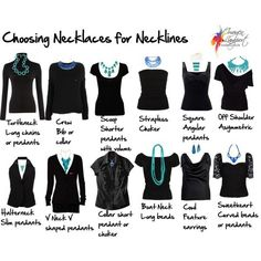 Neckline Cheat Sheet. How to choose necklaces to work with your neckline. Image courtesy of Inside Out Style.