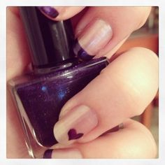 Purple French manicure with heart