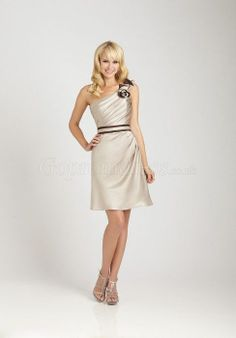 Elegant Satin pleated Knee-length gray Bridesmaid Dress picture 1