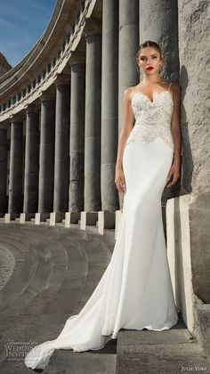 julie vino fall 2017 bridal spagetti strap sweetheart neckline heavily embellished bodice elegant sheath wedding dress chapel train (12124) mv