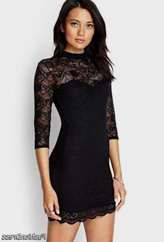 Awesome black dress with lace sleeves forever 21 2017-2018