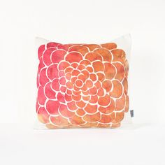 SALE Watercolor Floral Pillow Cover in Hot Pink Orange by Nirwa