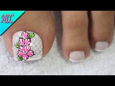 DISEÑO DE UÑAS PARA PIES FLORES SENCILLAS - FLORES PASO A PASO - FLOWERS NAIL ART - NLC - YouTube Nail Art Designs, Pedicure Designs, Gel Nails, Acrylic Nails, Summer Toe Nails, Beautiful Toes, Toe Nail Art, Nails Inspiration, Cute Nails