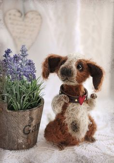 felted pup ... how adorable I might have to try this.. note to self.. felting needles very sharp.. ouch