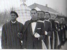 1956 Sphinxmen (Pledgees) of Alpha Phi Alpha Fraternity Incorporated (oldest black greek letter fraternity/sorority) at Wilberforce University along with their Dean of Pledgees