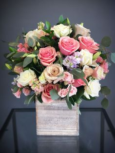 Tall white & pink wood box arrangement with white, pink and blush roses,eustomas and eucalyptus Beautiful Flower Arrangements, Wedding Flower Arrangements, Flower Centerpieces, Colorful Flowers, Spring Flowers, Wedding Centerpieces, Floral Arrangements, Beautiful Flowers, Simple Flowers