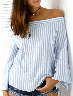 Stylish Blue Stripe Off The Shoulder Long Sleeves Women's Blouse