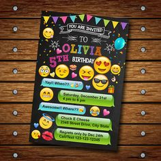 EMOJI BIRTHDAY INVITATION ---------- This is digital file, Proof file invitation will send by your email etsy account or email you want - With your order you will receive 1 High Resolution Photo JPEG in either size 5x7 or 4x6 (chosen at checkout). - No shipping required! Print as many as you need! - Print from home or from most photo labs (Walgreens, SAMSclub, Fedex, Etc) - Please read our Shop Policies for extra information & to avoid any confusion! HOW TO WORK : 1. Add this design t...