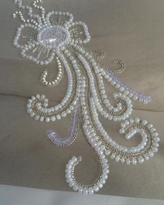 Grand Sewing Embroidery Designs At Home Ideas. Beauteous Finished Sewing Embroidery Designs At Home Ideas. Pearl Embroidery, Tambour Embroidery, Embroidery Jewelry, Bead Embroidery Tutorial, Bead Embroidery Patterns, Hand Embroidery Designs, Bordados Tambour, Tambour Beading, Motifs Perler