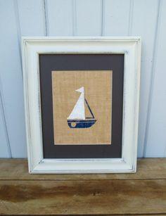 Sailboat Print on Burlap 8x10 Nautical Decor / Childrens Wall Art / Nursery Decor. $15.00, via Etsy.