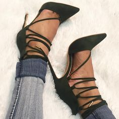 Olive Faux Suede Wrap Around Pointed Toe Heels