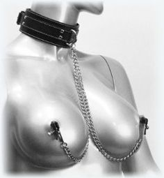 "EXTREME FETISH SEX BONDAGE ~ MALE FEMALE SLAVE Coveted COLLAR / CHAIN / Bully alligator CLAMPS Union ~ UNISEX SM325 shipped in discrete package , NO INVOICES included by Imperia Industries. $28.90. COLLAR: Fits necks 13-17 inches, Material: Leather. two 10 inch chains ( 12"" TOTAL LENGTH INCLUDING CLAMPS ) attached to COLLAR FRONT  D-ring.. Imagine the seductive combination of leather and metal, collar and clamp...pleasure and pain. has your fix with the Coveted Collar and..."