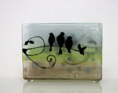 Fused Glass napkin holder birds landscape black by virtulyglass