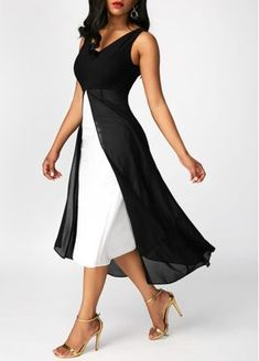 Black Chiffon Panel V Neck Sleeveless Dress | Rosewe.com - USD $33.69