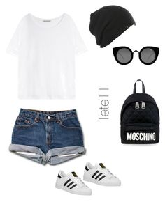 """Black&White"" by tetett on Polyvore featuring moda, Acne Studios, adidas Originals, Moschino y Quay"