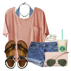 A fashion look from July 2017 featuring Clu t-shirts, Charlotte Russe bras and Birkenstock sandals. Browse and shop related looks. Summer Outfits For Teens, Cute Comfy Outfits, Cute Outfits For School, Teen Fashion Outfits, Cute Casual Outfits, Simple Outfits, Girl Outfits, Summer Clothes, Teens Clothes