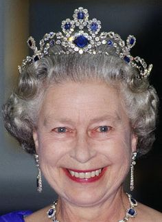 George VI Sapphire Tiara  -   Made in 1963 to match a sapphire suite originally made in 1850 given to Queen Elizabeth by her father King George VI on the occasion of her 1947 wedding.