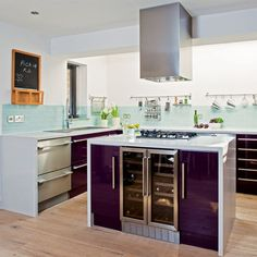 wine cooler in the kitchen island