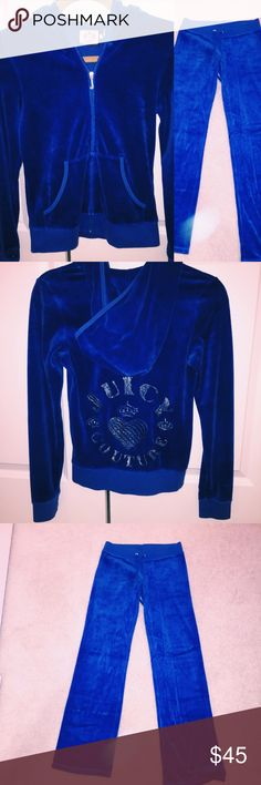 Royal Blue Juicy Couture Sweatsuit Great condition Juicy Couture royal blue velour Sweatsuit. Silver embellishments are included as pictured! General signs of wear but nothing noticeable. 🚫Lowballs 🚫Trades 🚫PayPal Juicy Couture Pants Track Pants & Joggers
