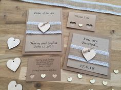 Inspired by the beauty of natural materials, the Vintage collection is made using hessian, lace, wooden hearts, jute twine and natural kraft card.  Range includes Invites, Order of Service, Save the Date and Thank You cards.