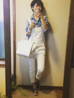 白xカーキ迷彩xブルー サロペ パンツ シャツ