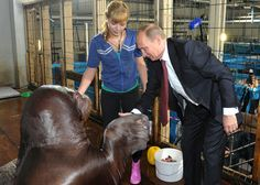 Putin looking at the only paw that could ever beat him at arm wrestling. | 48 Photos Of Vladimir Putin Looking At Things