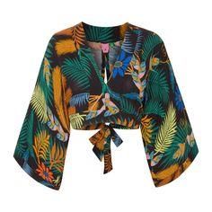 Encontre just-in-roupas-blusas-manga-longa FARM - Blusa cropped kimono folclorita - preta - OQVestir Crop Top Designs, Blouse Designs, Fashion Outfits, Womens Fashion, Fashion Trends, Fashion Jobs, Retro Fashion, Elegant Outfit, Boho Tops
