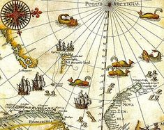 """Home of Hans Christian Andersen's Snow Queen >> Portion of 1599 map of Arctic exploration by Willem Barentsz. Spitsbergen, here mapped for the first time, is indicated as """"Het Nieuwe Land"""" (Dutch for """"the New Land""""), center-left. Old Maps, Antique Maps, All World Map, Medieval, Professional Development For Teachers, Tromso, Treasure Maps, Parking Design, Snow Queen"""